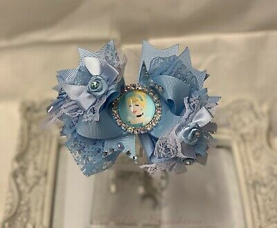 """New Girls Luxury Stacked Hairbow 4.5"""" Lace Pearls Crystals Satin Cinderella"""