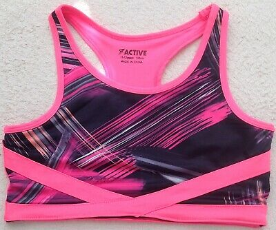 Primark Active Kidswear Pink & Black Workout Crop Top Girls 11-12y New