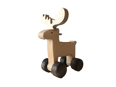 Wooden Moose Push Along Toy