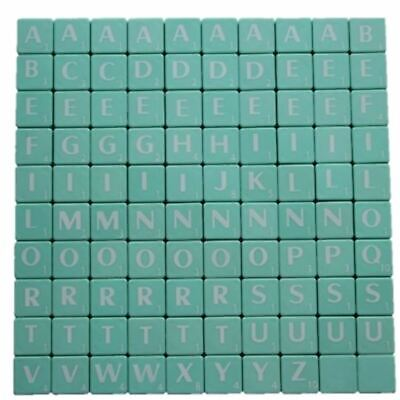 100 Scrabble Tiles Light Green Letters Numbers Crafts Alphabets High Quality