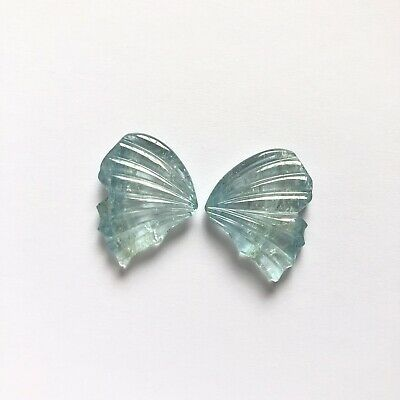 Natural Aquamarine Butterfly Wings Carved Gemstone