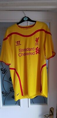 f03b27e46 LIVERPOOL WARRIOR 2014 15 Away Football Kit Yellow   Red Large Boys ...