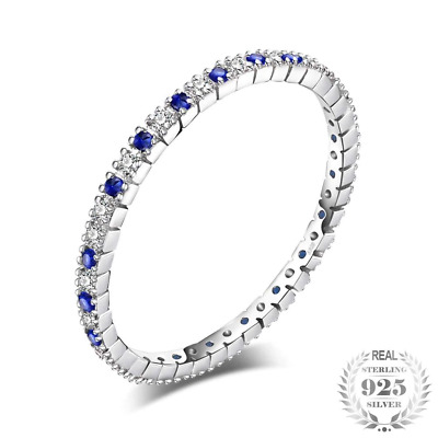 Exquisite Round Created Blue Wedding Band Ring 100% 925 Sterling Silver Jewelry