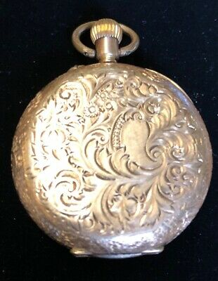 Gold Cased 14ct Fob Pocket Watch Antique Swiss Movement Non Running