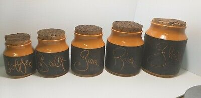 Vintage 1970s Hanstan Pottery Canister Set Orange And Brown