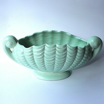 Art Deco Mantle Vase Green Clamshell 2 Scroll Handles Footed H13cm Spry 1930s