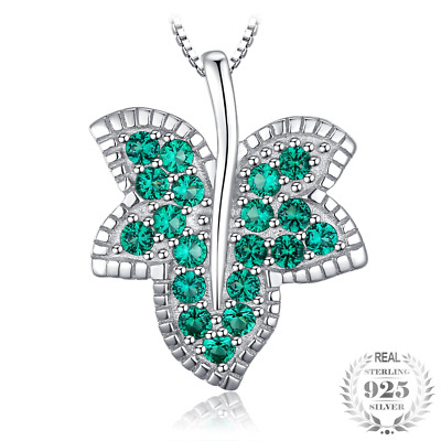 Milgrain Maple leaf Russian Simulated Emerald Pendant 925 Sterling Silver Women