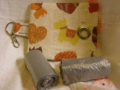 Handmade Fabric Dog Poo Poop Bag Dispenser Dogs And Hearts Fabric