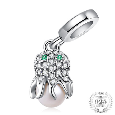 Sea Love Octopus Cubic Zirconia 925 Sterling Silver Bead Charm Fit Bracelets DIY