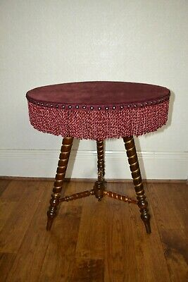 Victorian Circular Mahogany & Gilt Gypsy bobbin turned Hall / Side / Table C1870