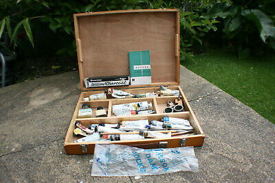 Vintage Wooden Oil Colour Paint & Brush Tool Box Mixed Rowney & Winsor Newton