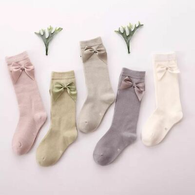 Girls Toddlers Kids Children Ribbon Bow School Party Wedding Socks 1-8 years