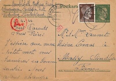 WWII Carte Schwäbisch Camp Brief Germany Deutsch Lager