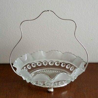 Antique Silverplated Frosted Glass Serving Dish EPNS England !!!