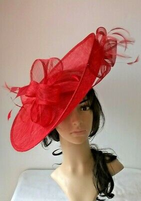 Rouge Red Sinamay & feather Hatinator ..hat.Large saucer disc Wedding.races.*