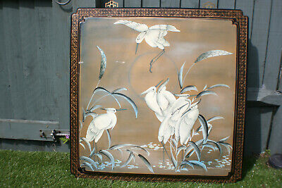 Large Chinese Wooden Lacquer Hand Painting Bird Picture Wall Hanging