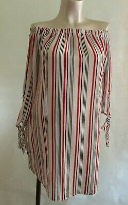 [11] New Look Maternity White Striped Top Size 12 Off the Shoulders /Summer
