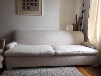 Vintage 1950's 3-seater sofa with Pierre Frey Ivory fabric. Solid oak frame.