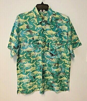 382a98db9 Rum Reggae Fishing Men's Button Up Green Fish Hawaiian Aloha SS Shirt Size M