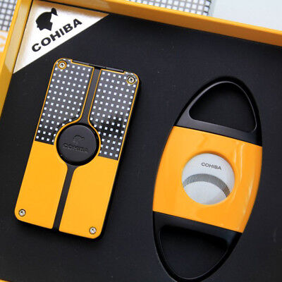 COHIBA Yellow Metal 3 Torch Jet Flame Cigar Lighter With Cigar Cutter Cigar Set
