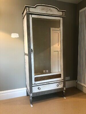 French Painted Armoire with Mirrored Door