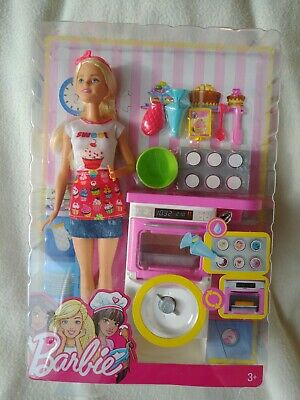 Barbie Baker Play Set With Doll Oven & Accessories New FHP57