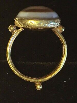 Antique Early Islamic 7th Century Solomon Agate Amulet Talisman Solid Gold Ring
