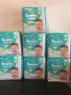 LOT DE 175 (7x25) COUCHES PAMPERS BABY-DRY TAILLE 4 (9-14 kg)