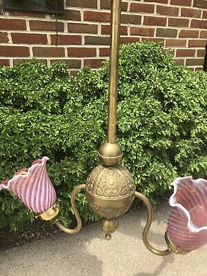 Antique Victorian Brass Dual Cranberry Swirl Light Chandelier Newly Wired
