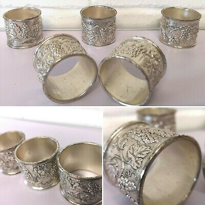 Silver Napkin Rings Grapes Cluster Vine Occasion Dinner Table Vintage Set 5