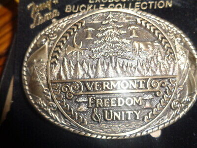 1970's Tony Lama 1st Edition State Seal Brass Belt Buckle Vermont