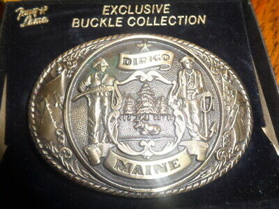 1970's Tony Lama 1st Edition State Seal Brass Belt Buckle Maine