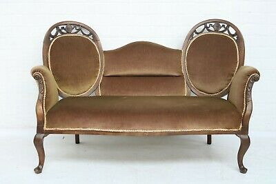 Vintage 2 Seater Sofa With Queen Anne Supports