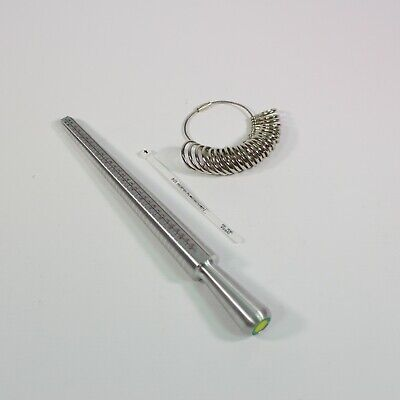Metal Ring Sizer Mandrel Finger Sizing Measure Stick UK and US + Ring Kit