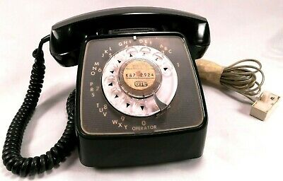 Vintage GTE Automatic Electric Black Rotary Dial Telephone