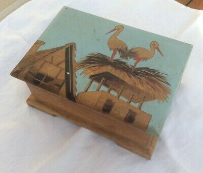 Vintage French Painted Carved Wooden Box - Molshiem - Marc Lausecker - Storks