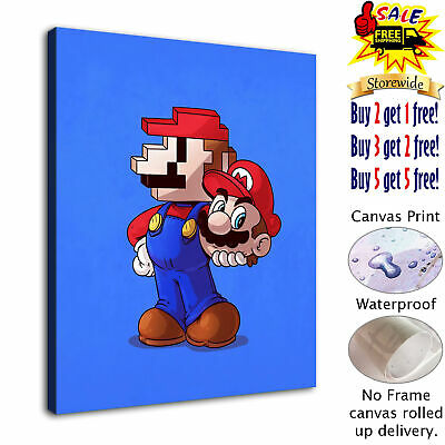 "12""x14""2D Mario HD Canvas prints Painting Home decor Picture  Wall art Poster"