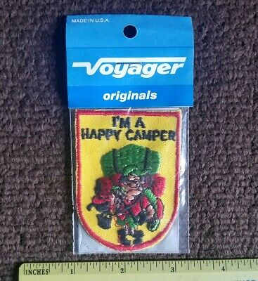 Vtg I'M A HAPPY CAMPER Camping hunting fishing funny novelty Patch NOS 80s
