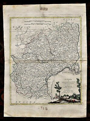 18th c. Zuliani  Map of  Languedoc, Rousillon & Rouergue Regions of France 1777