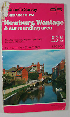 old vintage 1988 OS Ordnance Survey Landranger map 174 Newbury, Wantage & area