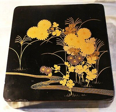 Vintage Japanese Lacquer Box decorated with Crysanthemums c. 1955