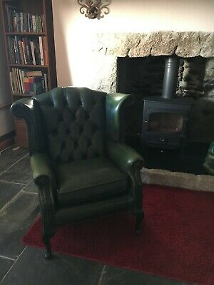 Two Chesterfield Queen Anne Wing Back Chairs Vintage Green Leather