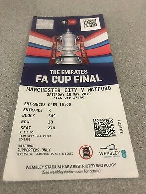 2019 Fa Cup Final Used Ticket Stub Manchester City V Watford May 2019