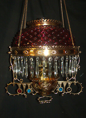 Antique Meriden Jeweled Hanging Oil Lamp (Cranberry Hobnail Shade)
