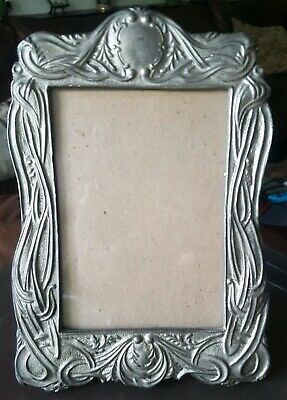 "Antique Art Nouveau Heavy Cast Iron Picture Photo Frame for Pictures 3.5"" x 5"""