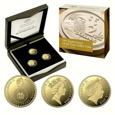 AUSTRALIA • 2018 • 30th Anniversary of $2 • 3 Coin Proof Set • Mintage 1,988