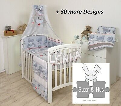 GREY CUTE TEDDY WITH RED BABY BEDDING SET COT or COT BED size+ 30 MORE DESIGNS