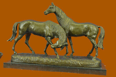Bronze Sculpture Two Gorgeous Mare Horses Racing Statue Marble Base Figure DEAL