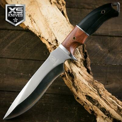 "Buckshot 12"" Survival HUNTING Tactical Combat DARK WOOD Full Tang Knife 440"