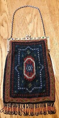 Antique Art Deco  Vintage Purse Micro Beaded Brass Jeweled Frame Bag  20s